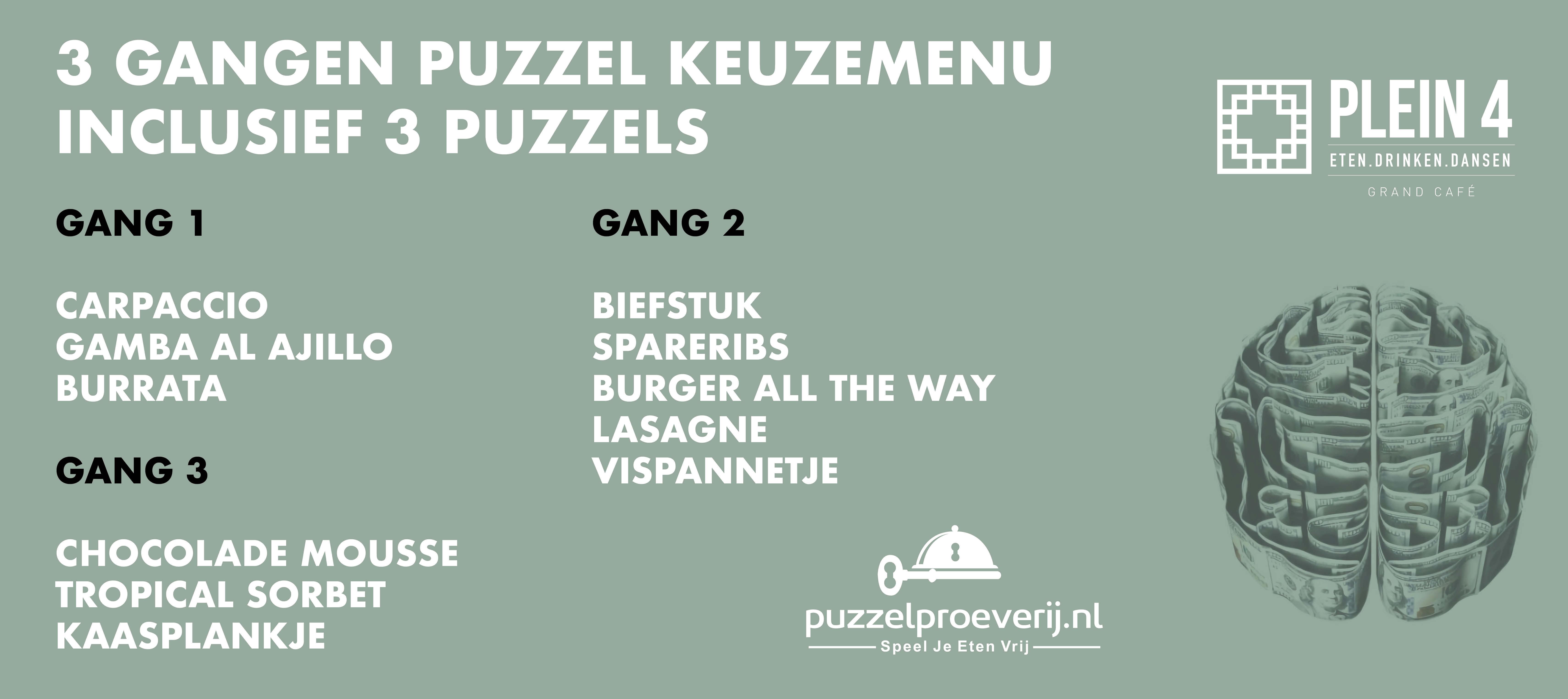 Arrangement Diner - 3 gangen Puzzel Keuzemenu bij Grand Café Plein 4 in EINDHOVEN